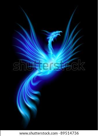 Raster version. Beautiful Blue Burning Phoenix. Illustration isolated over black background - stock photo