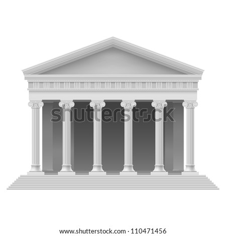 Raster version. Big Portico an ancient temple. Colonnade. Illustration on white