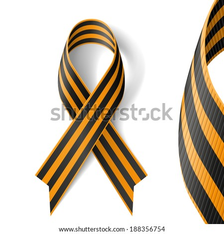 Raster version. Black and gold Ribbon of St George on white background.