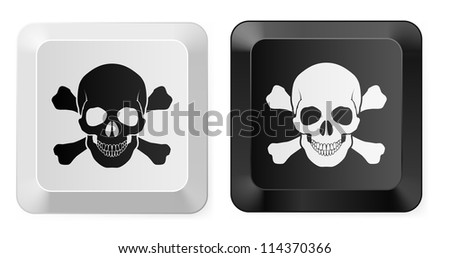 Raster version. Black and White Skull button. Illustration for design
