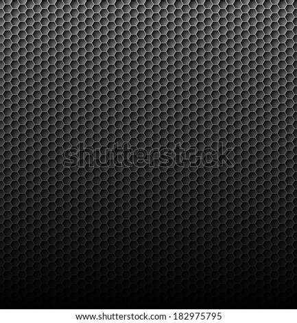 Raster version. Black carbon background with hexagon mesh and light up