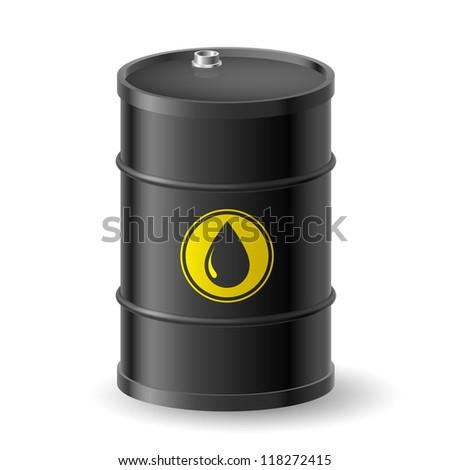 Raster version. Black Oil Barrel. Illustration on white background - stock photo