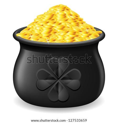 Raster version. Black Pot full of gold coin. Illustration on white
