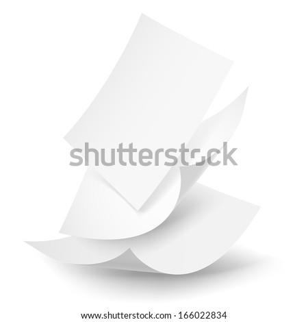 Raster version. Blank paper sheets falling down. Illustration on white background.