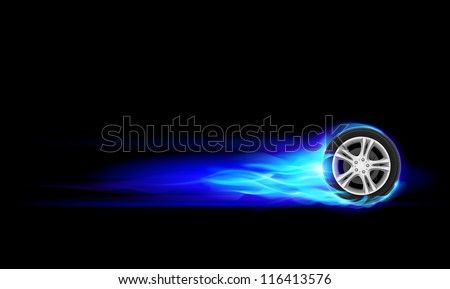 Raster version. Blue Burning wheel. Illustration on black background