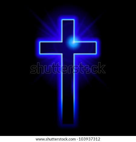 Raster version. Blue Christian symbol of the crucifix. Illustration on black background