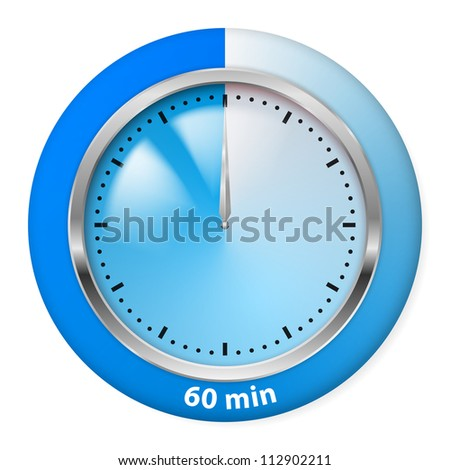 Raster version. Blue Timer Icon. Sixty Minutes. Illustration on white.