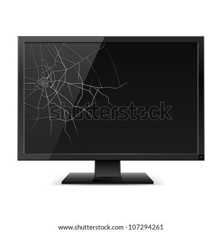 Raster version. Broken Black Monitor. Illustration for design on white background