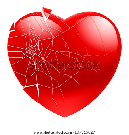 Raster version. Broken Heart.  Illustration for design on white background