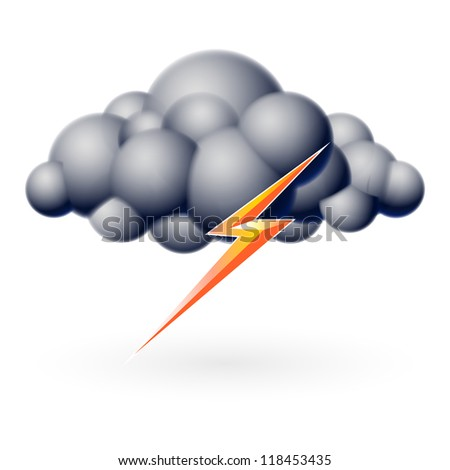 Raster version. Bubble Cloud with Lightning. Illustration on white