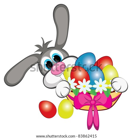 Raster version. Bunny With Easter Eggs And Basket. Illustration on white