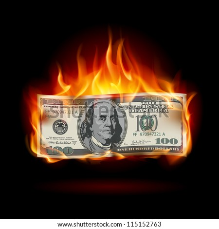 Raster version. Burning dollar on a black background for design