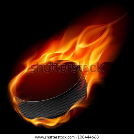 Raster version. Burning hockey puck. Illustration for design on black background
