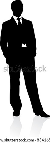 Raster version. Business man in suit and tie silhouette.  illustration