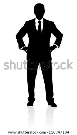 Raster version. Business man in suit and tie silhouette. Illustration on white - stock photo