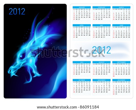 Raster version. Calendar twenty twelve template. Blue Dragon. Illustration for design