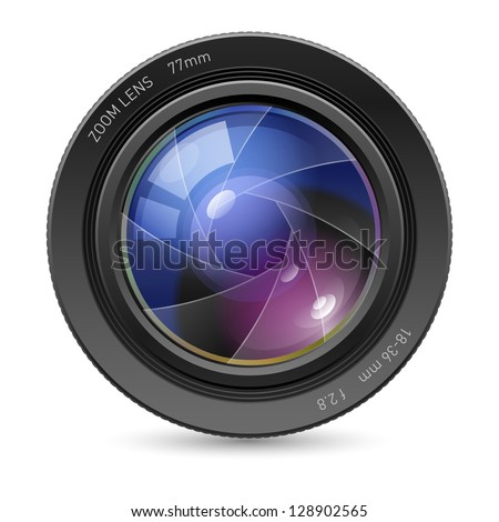 Raster version. Camera icon Lens. Illustration on white background