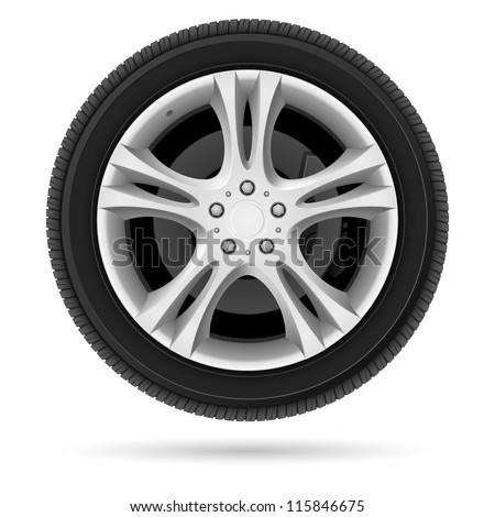 Raster version. Car wheel. Illustration on white background for design