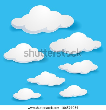 Raster version. Cartoon  clouds. Illustration on blue background for design