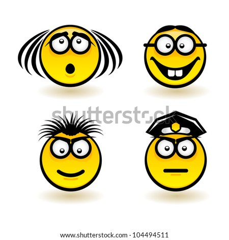 Raster version. Cartoon faces. Set of second. Illustration of designer on white background
