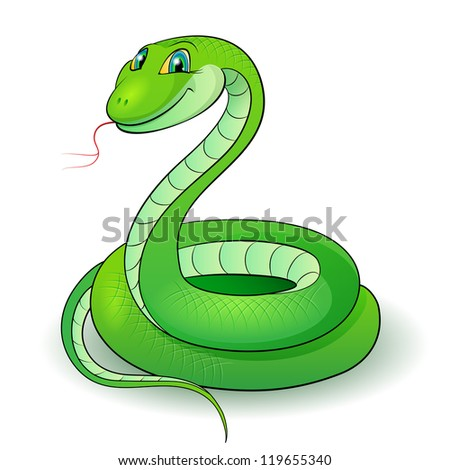 Raster version. Cartoon Illustration of a nice green snake.