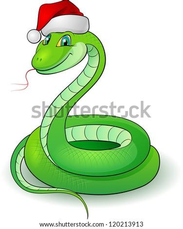 Raster version. Cartoon illustration of a snakes. Illustration on white