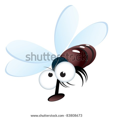 Raster version. Cartoon style illustration of a fly.  illustration on white