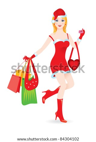 Raster version. Christmas girl with shopping bags,  illustration