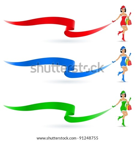 Raster version. Christmas girls with shopping bags. Illustration on white background