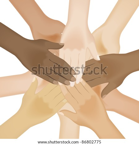 Raster version. Circle of multiracial human hands. Illustration on white background