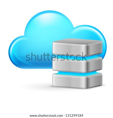 Raster version. Cloud computing and remote Database. Illustration on white background