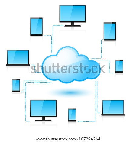 Raster version. Cloud computing. Illustration for design on white background