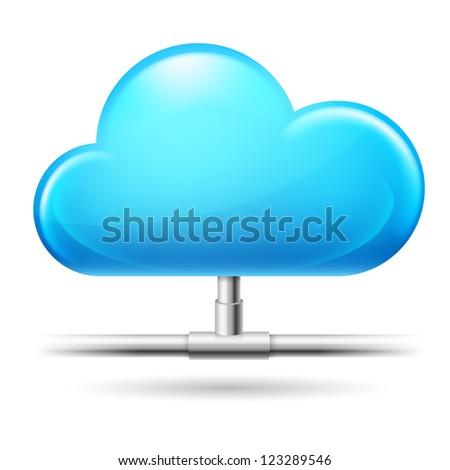 Raster version. Cloud computing. Illustration on white background for design