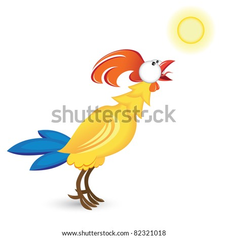 Raster version. Cock and the sun. Illustration on white background
