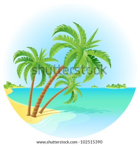 Raster version. Coconut palm trees on a island. Illustration on white.