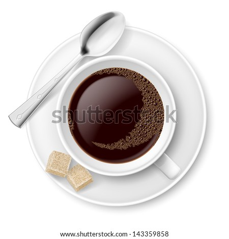 Raster version. Coffee with sugar. Illustration on white background for design
