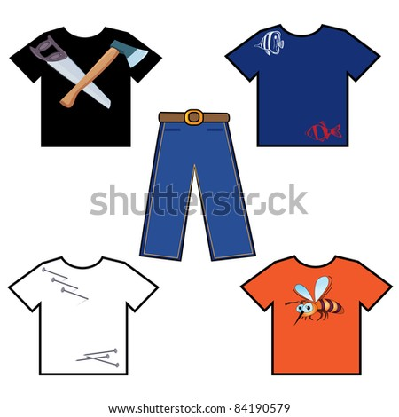 Raster version. Colored shirts and pants. Illustration on white background