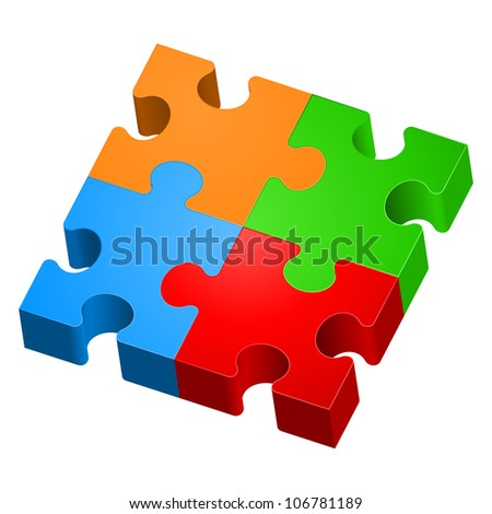 Raster version. Colorful puzzles. The form of the first. Illustration for design on white background