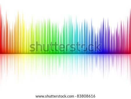 Raster version. Colorful Sound waveform (editable ) on white