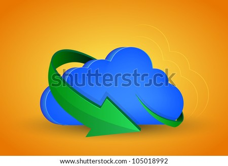 raster version. computer cloud with arrow on orange background