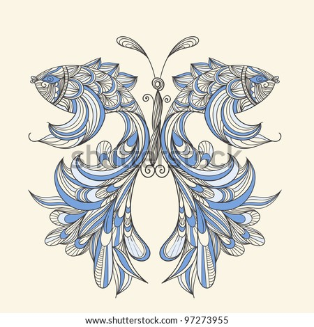 raster version,  concept butterfly with wings - fishes, fishes can be used separately