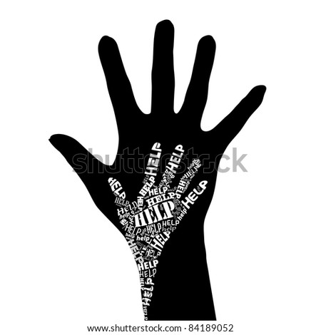 Raster version. Conceptual black and white  illustration - Hand of Help.