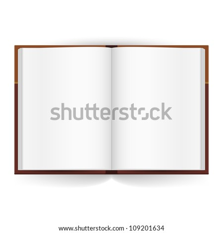 Raster version. Cool Open book with white pages. Illustration on white - stock photo