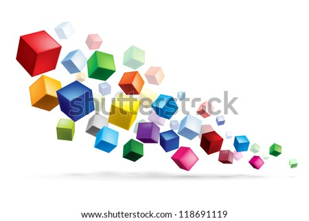 Raster version. Cubes in various combinations. Abstract illustration for design