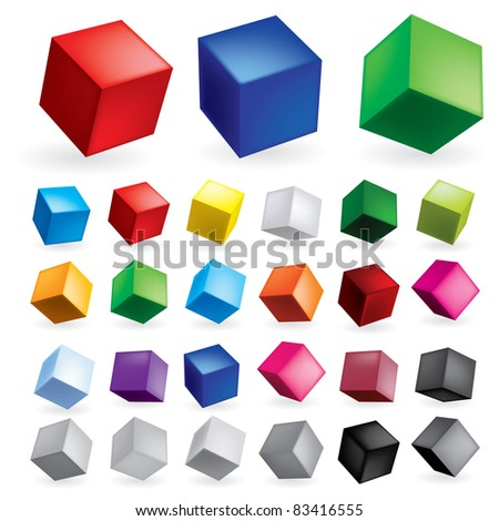 Raster version. Cubes in various combinations of position for training
