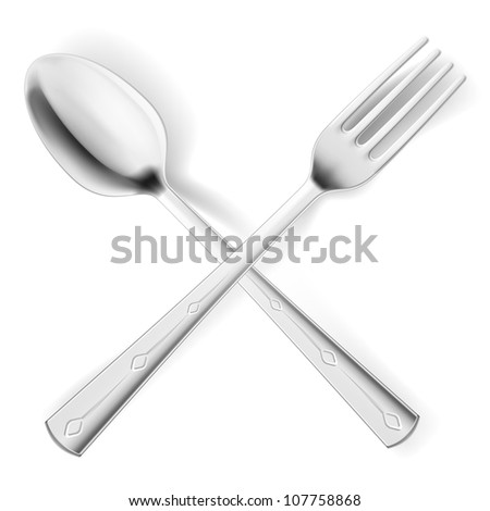 Raster version. Cutlery spoon and fork.  Illustrations on white background for design