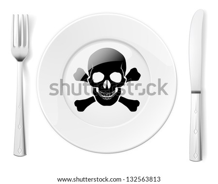 Raster version. Dangerous food symbol represented by a Fork and Knife with a Plate and a graphic of a Skull and Bones