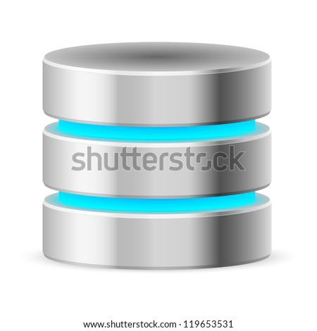 Raster version. Data base icon. Illustration on white background