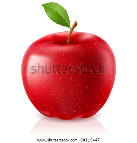 Raster version. Delicious red apple. Illustration on white background
