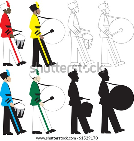 Raster version 8 different types of drummers Illustration.